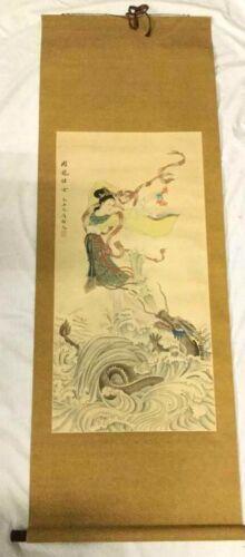 Original Vintage Chinese Woman Wave Dragon Hanging Paper Scroll Ocean Painting