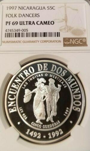 1997 NICARAGUA SILVER 5 CORDOBAS FOLK DANCERS NGC PF 69 ULTRA CAMEO SCARCE COIN