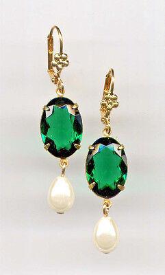 ☘️EMERALD green☘️ cut-crystal PEARL TEARDROP Earrings 14K Gold gp Art Deco