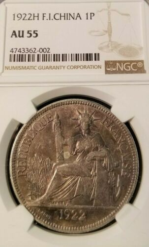 1922 FRENCH INDO CHINA SILVER 1 PIASTRE NGC AU 55 SCARCE IN HIGH GRADE