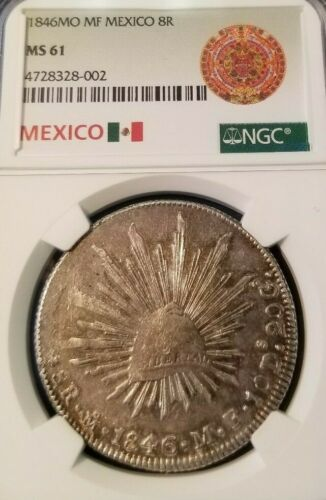 1846 Mo MF MEXICO 8 REALES NGC MS 61 EARLY DATE HIGH GRADE BEAUTIFUL TONING