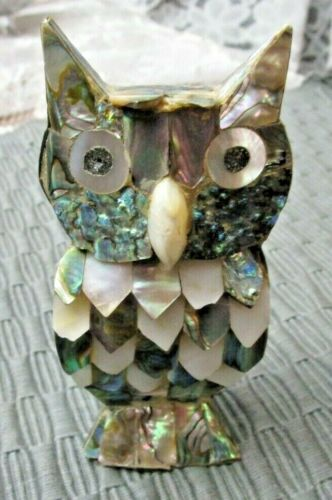 """Vintage Abalone & Mother of Pearl Owl Figurine 5"""" Good Cond- a few chips"""