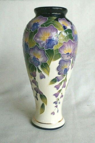 "2005 Blue Sky ~ Jeanette McCall ~ 8 1/4"" Purple WISTERIA Flowers Vase"