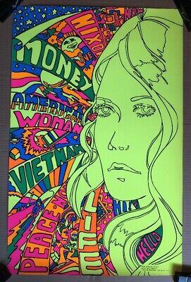 Vintage 1970 Third Eye Inc Black Light Poster #610 Grow by Linda Brewer NEW