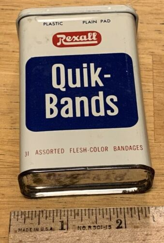 Vintage Rexall Quik Bands Band Aid Tin Box Medical Advertising Apothecary Decor