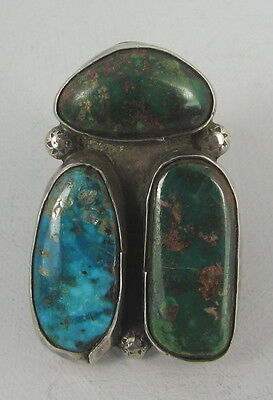 Heavy Large Navajo Silver Bug Ring w/3 Turquoise