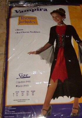 VICTORIAN VAMPIRA NEW COSTUME HALLOWEEN GIRLS COSPLAY NEW SZ 10/12 VAMPIRE GOTH