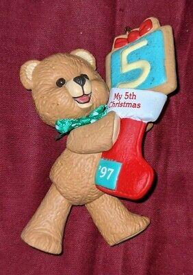 Hallmark My Fifth Christmas 5th Child's Age #5 Teddy Bear Ornament 1997 RARE HTF