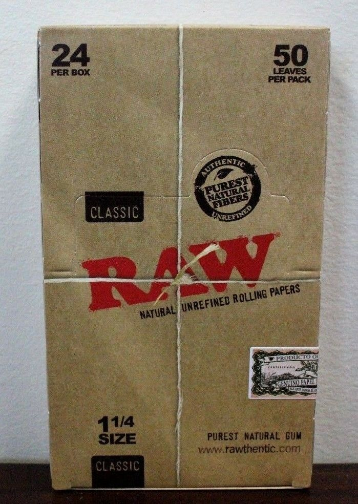 Raw 1.25  Classic Hemp Rolling Paper Full Box~24 pk~New Box