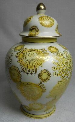Vintage Porcelain Ceramic Ginger Vase Jar with Lid Made in JAPAN with Flowers