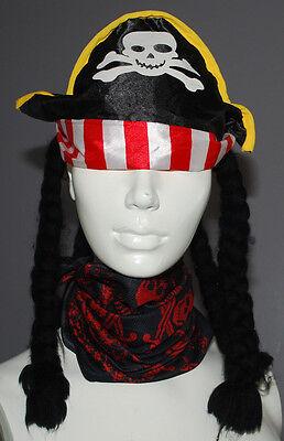 Pirates of Caribbean Bandana Disney Parks & Pirate Hat Dreadlocks Halloween Kids