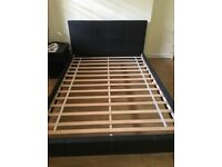 Black faux leather double size bed frame, great condition, 4ft6 with free used mattress