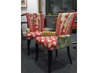 Two Upholstered Patchwork Patterned Chairs