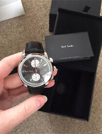 BRAND NEW IN BOX PAUL SMITH MENS GREY & BLACK 'BLOCK' CHRONOGRAPH DESIGNER WATCH