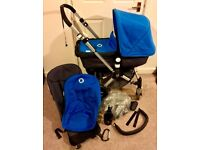 Very nice Bugaboo Cameleon 2nd Generation in Blue and Charcoal with accessories