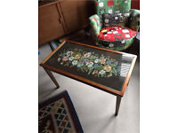 Antique Vintage Wood Coffee Table 50s Embroidered Tapestry Needlework Glass Top Embroidery sewing