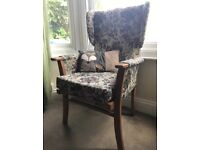 Vintage granny/window armchair seat. Wood tan brown green mustard floral retro