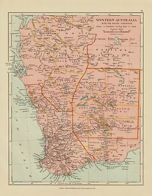 EDWARD STANFORD MAP  1920 . WESTERN AUSTRALIA