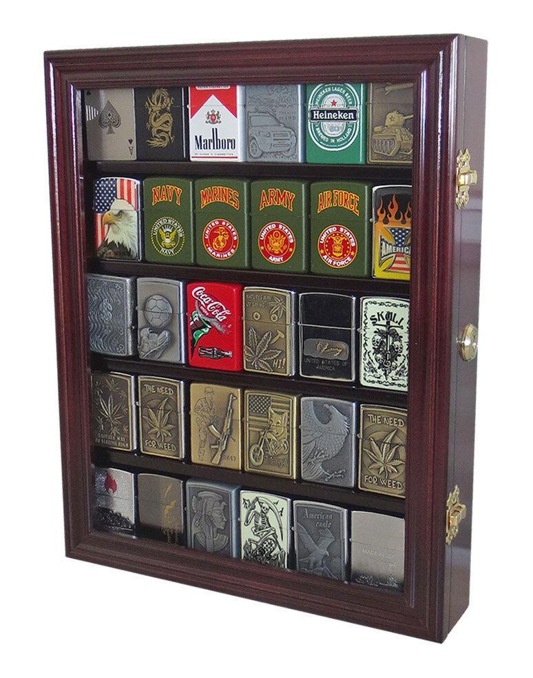 Sport Zippo Cigarette Lighter Display Case Wall Cabinet, Loc