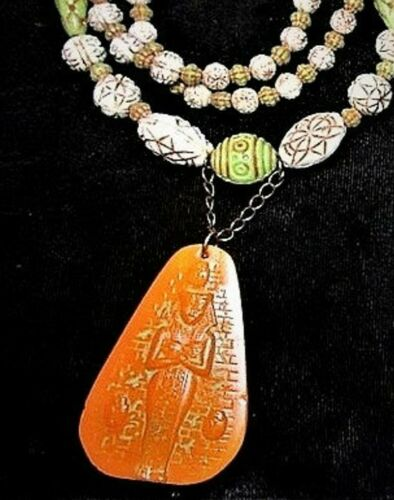 Antique 1920 Max Neiger Egyptian Orange PHARAOH SCARAB Pressed Glass Beaded Neck