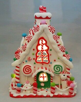 Gingerbread House White Christmas LED Light Up Candy Clay-dough 8.5