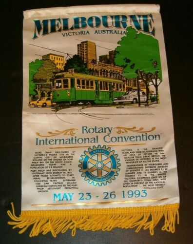 VINTAGE Rotary International Club banner   MELBOURNE AUSTRALIA 1993 CONVENTION