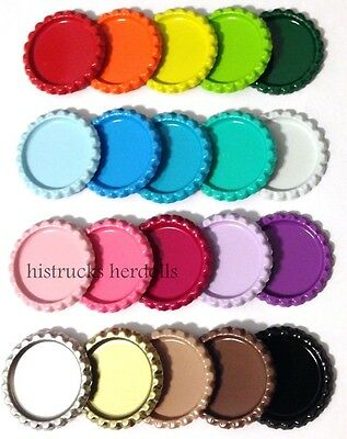 "100 Double Sided Painted Linerless 1"" Mix Flat Colors Bottle Caps 20 COLORS SET"
