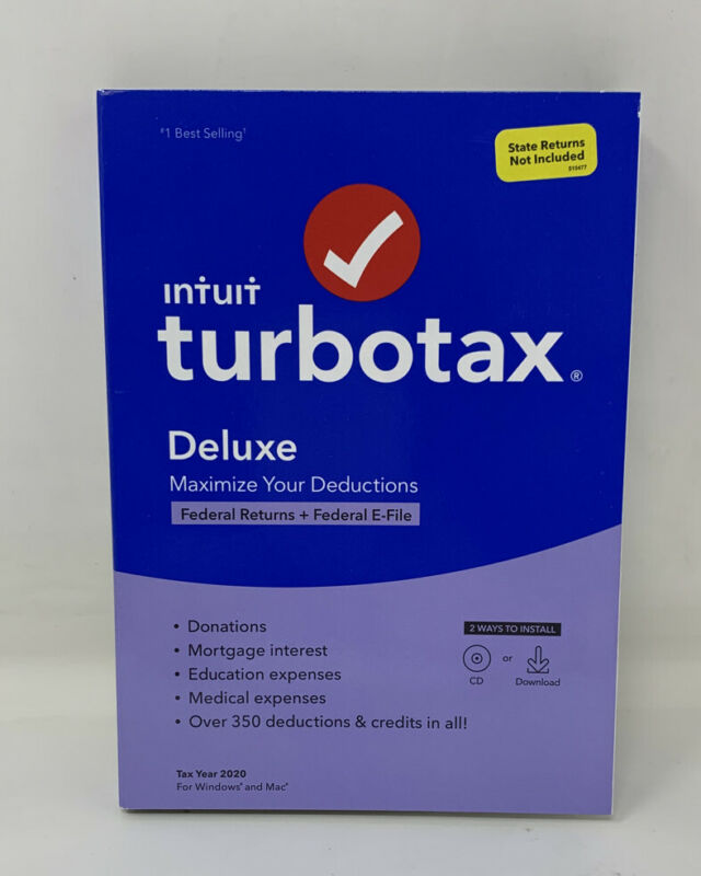 Intuit TurboTax Deluxe Tax Year 2020 Federal Return Efile for Windows Mac (A Mi)