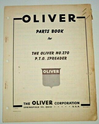 Oliver 270 Pto Spreader Parts Manual Catalog Book Original