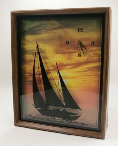 Vintage Designs In Time Wall Clock Retro 1976 Sail Sunset Rare Japan Mechanism
