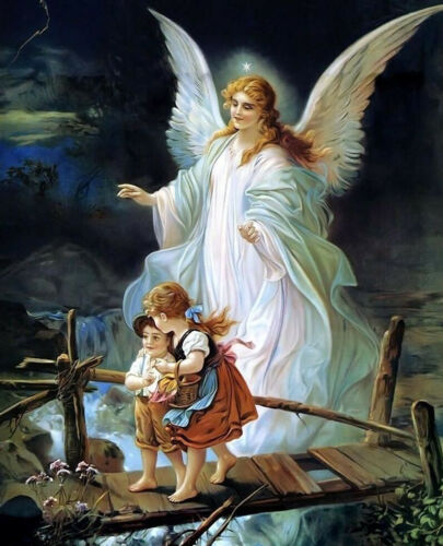 GUARDIAN ANGEL WITH CHILDREN 8X10 PHOTO PICTURE CHRISTIAN ART