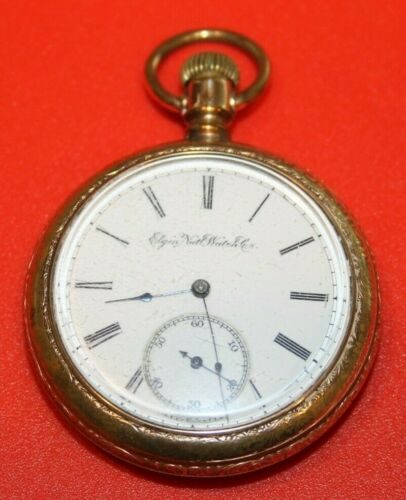 NICE 16s 7j 1891 ELGIN MODEL 5 GRADE 104 GF OPEN FACE POCKET WATCH  - WORKING