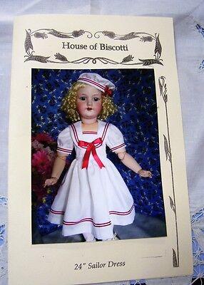 """Sailor Dress Pattern for 24"""" Antique Bisque Doll  Simon Halbig"""