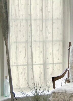 Heritage Lace Panel Curtains White Sand Shell Beach Sheer Crushed Lace 45x84