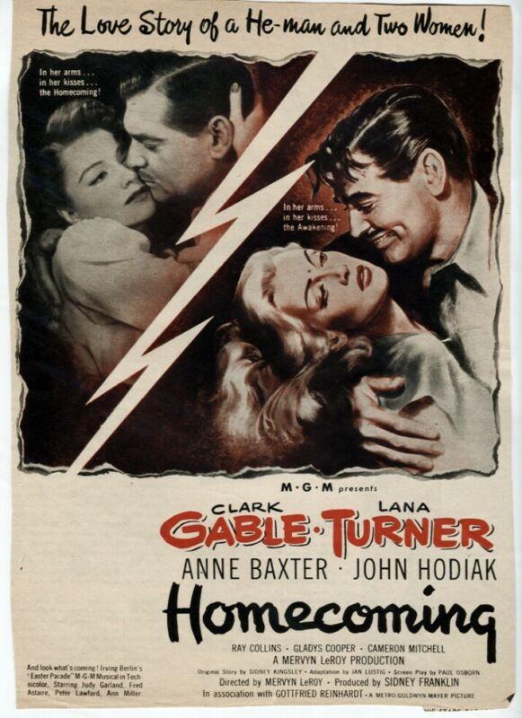Homecoming 1949 MGM Movie Ad Clark Gable Lana Turner Vtg Original Magazine Ad