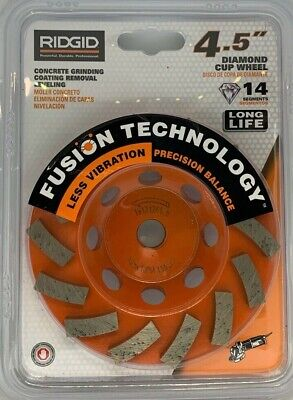 Ridgid 4.5 Concrete Grinding Coating Removal Leveling Diamond Cup Wheel Taw45p1