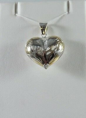 STERLING SILVER, .925 HEART CHARM / PENDANT WITH WHEAT DESIGN & GOLD ACCENTS ()