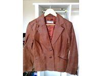 100% leather brown beige tan tanned jacket blazer Wallis size 12 steampunk biker classic staple