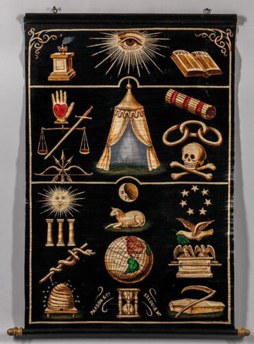Odd Fellows Hand Painted Symbols Banner, Late 19th Century, Rebekah Lodge