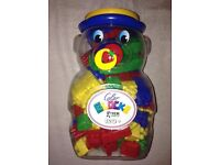 Bear container full of blocks