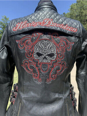 Harley Davidson SCROLL Willie G Skull Leather Jacket Women's Medium Black Red