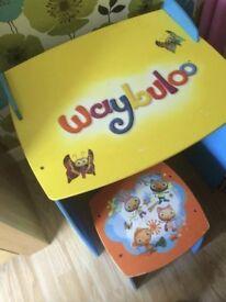 Waybuloo desk, stool and toy box