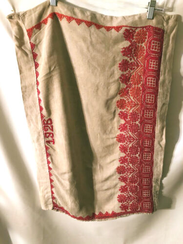 Antique 1926  pure natural linen pillow case, sham, hand embroidered red thread