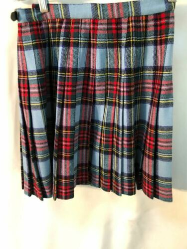 VTG Laird Portch of Scotland blue + red tartan girls wool kilt kids skirt size M