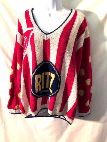 Vintage Rare NABISCO RITZ CRACKERS Graphics Cotton blend sweater Large- GREAT!