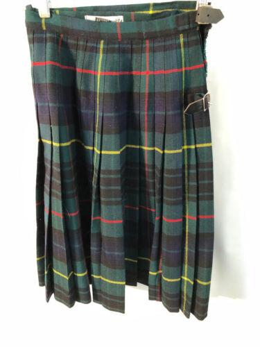 VTG The Scotch House Scotland green tartan girls wool kilt kids skirt size M