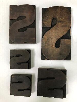 Vintage Letterpress Printing Wood Type All Large Letter S Lot Of 5