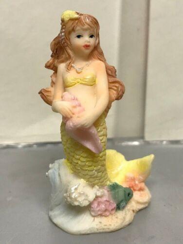 "NOS Miniature Mermaid Figurine Home Decor Poly Resin Fish Bowl Aquarium  2 1/4"""