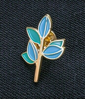 Vintage Olive Tree Branch Pin, Enamel Pinback, Blue, Green, Gold - 1 1/4 x 7/8