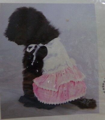 Tiny Dog Costumes (Luxury Paw Appeal Tiny Dancer White & Pink w/ Sequins Dress Dog Costume Sz L)